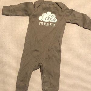 """Hello I'm New Here"" onesie"